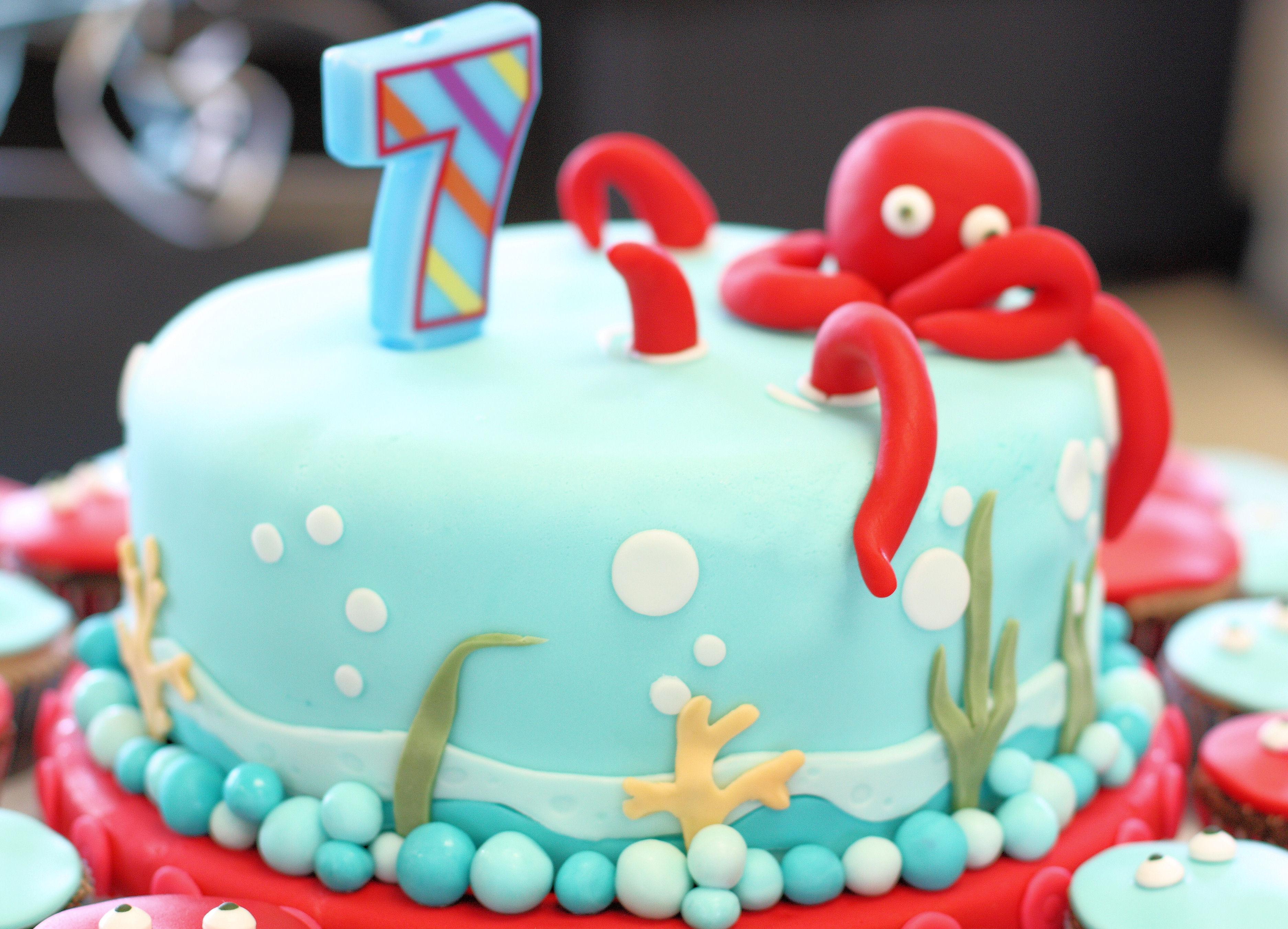 Groovy Octopus Birthday Cake Sugar Rainbow Cakes Funny Birthday Cards Online Inifodamsfinfo